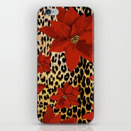 Animal Print Leopard and Red Poinsettia iPhone Skin