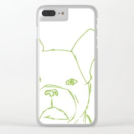 Sketched Frenchie (Green on White) Clear iPhone Case