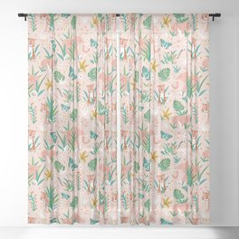 Endangered Wilderness - Blush Pink Sheer Curtain