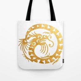 Gold Circular Tribal Dragon Tote Bag