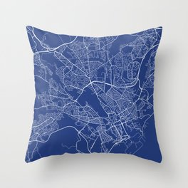 Cardiff Map, UK - Blue Throw Pillow