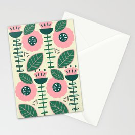 Modern flowers and leaves Stationery Cards