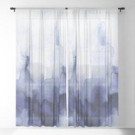 Moody Indigo Abstract Watercolor Sheer Curtain
