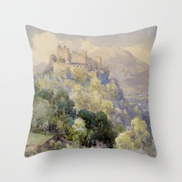 Overlooking the Hohenwerfen Fortress in Salzburg by Edward Theodor Compton Throw Pillow