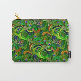 Peacock Neck Gator Green Retro Peacock Feathers Carry-All Pouch