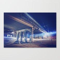 De nuit, sous un pont Canvas Print