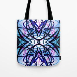 Loopy Lines Abstract Art Sky Blue Tote Bag