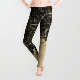 Toronto Gold and Black Street Map Leggings