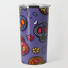 Sugar Skulls (on purple) - calavera, skull,  halloween, illustration Travel Mug