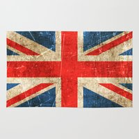 british flag Area & Throw Rugs featuring Vintage Aged and Scratched British Flag by Jeff Bartels