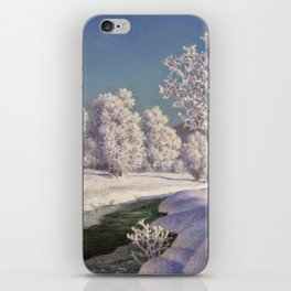 Winter Morning, After New Snow, Along the Emerald Stream by Ivan Fedorovich Choultsé iPhone Skin