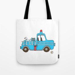 firetruck blue vintage fire truck Tote Bag