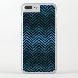 Blue And Black Zig Zag Abstract Design Clear iPhone Case