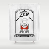 legend of zelda Shower Curtains featuring Zelda legend - Red potion  by Art & Be