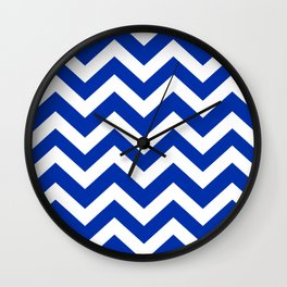 International Klein Blue - blue color -  Zigzag Chevron Pattern Wall Clock