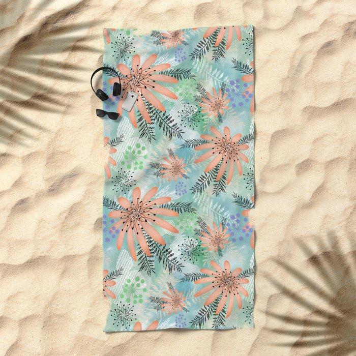 Pink - orange flowers on watercolor background. Beach Towel