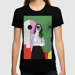 The magic of colours. Aesthetic wall art of young girl taking a selfie with her mobile phone T-shirt