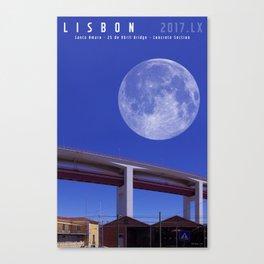 Lisbon - Santo Amaro - 25 de Abril Bridge - Concrete Section. Canvas Print