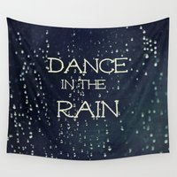 caleb troy Wall Tapestries featuring Dance in the Rain by Caleb Troy