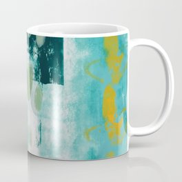 023: a vibrant abstract design in teal green and yellow by Alyssa Hamilton Art  Coffee Mug