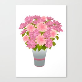 Pink asters in blue vase Canvas Print