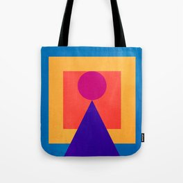 Abstract Christmas Tree Minimal Art Red and Blue Tote Bag