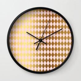 Royal gold on pink backround - Luxury geometrical pattern Wall Clock