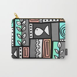 Fishes Seaweeds and Shells - Gray and Aqua Carry-All Pouch