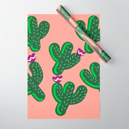 Prickly Cactus with Purple Flowers Wrapping Paper