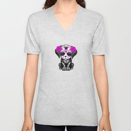 Cute Purple and Blue Day of the Dead Puppy Dog Unisex V-Neck