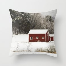 The Red Barn in Winter Throw Pillow