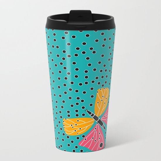 Butterfly with dots Metal Travel Mug