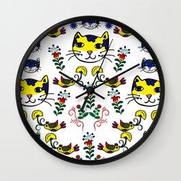 Folk Love Cat Wall Clock