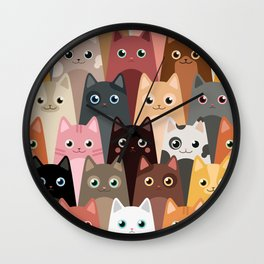 Cats Pattern Wall Clock