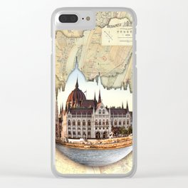 Budapest Globe Map Clear iPhone Case