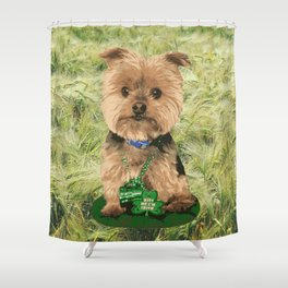 Kiss me I'm Irish   Yorkie Giraffe   Yorkies   Dogs   nbKiss Shower Curtain