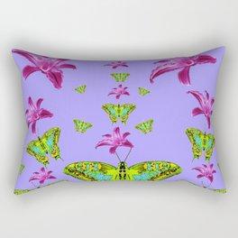 GREEN MOTHS & PURPLE LILIES LILAC COLOR Rectangular Pillow