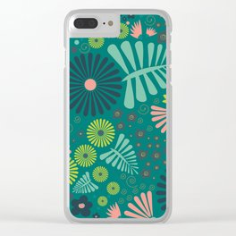 Whimsical flowers - green, pink and yellow Clear iPhone Case
