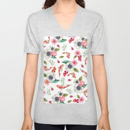 Modern pink red watercolor tropical floral koi fish pattern Unisex V-Neck