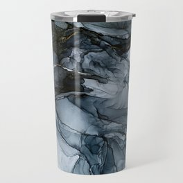 Dark Payne's Grey Flowing Abstract Painting Travel Mug