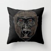 ape Throw Pillows featuring Ape by Mel McIvor