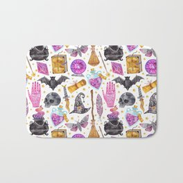 Pink gold black watercolor hand painted halloween pattern Bath Mat