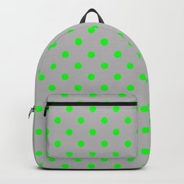 Medium Lime Green on Silver Polka Dots | Backpack