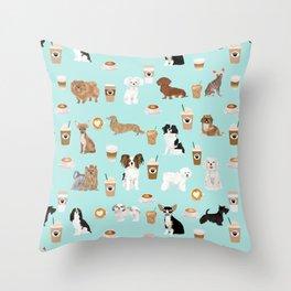 Coffee Dogs cute miniature dog breeds chihuahua bichon terrier Shih tzu pomeranian latte coffees Throw Pillow