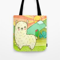 alpaca Tote Bags featuring Alpaca by My Zoetrope