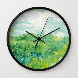 Green Wheat Fields - Auvers, by Vincent van Gogh Wall Clock