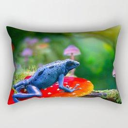 Poison Dart Arrow Frog On Mushroom Rectangular Pillow