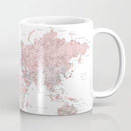 Mapamundi detallado con etiquetas en español, rosa empolvado y gris Coffee Mug