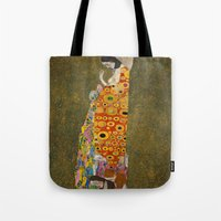 gustav klimt Tote Bags featuring Gustav Klimt - Hope, II by TilenHrovatic