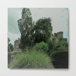 Warwick Castle Bathed in Green Light Metal Print